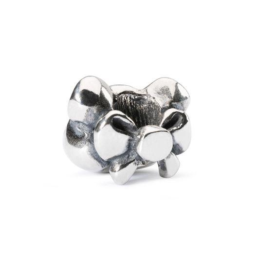 Silver modern charm bead for a Trollbeads bracelet of a little mouse's head