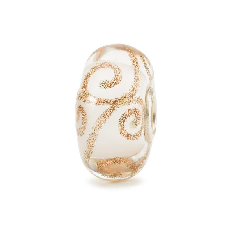 Modern charm bead in white Italian glass with swirls of glittering gold for a Trollbead charm bracelet