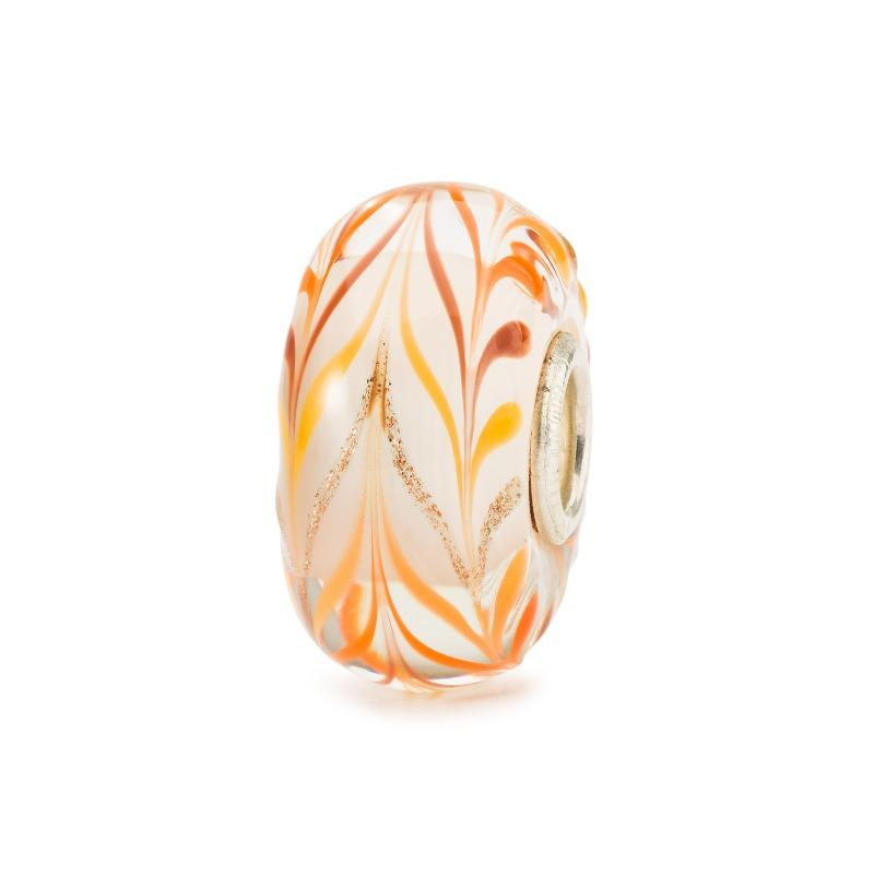 Trollbeads glass bead in beige with red and orange stripes for modern charm bracelet, Trollbeads