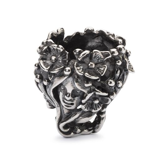 The Trollbeads silver pendant bead called Nature Girl featuring a female surrounded by flowers and leaves