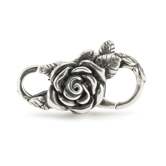 Silver intricately crafted rose lock for a Trollbeads bracelet
