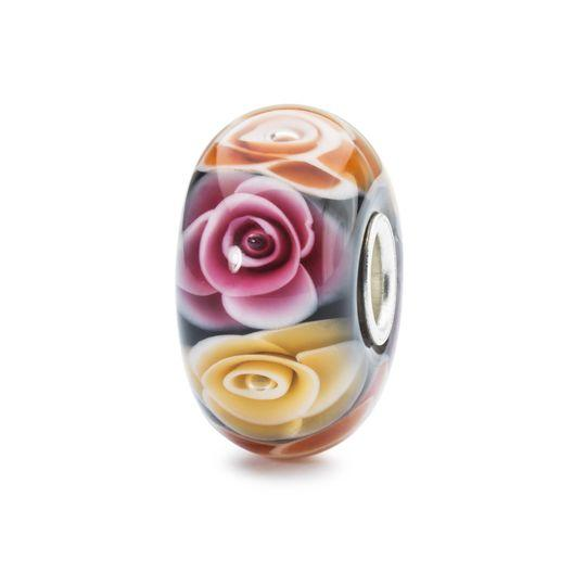 Italian glass bead with pink, orange and yellow roses