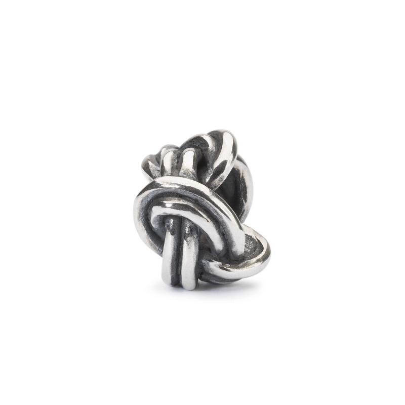 Trollbeads Savoy knot charm bead with twisted double strand of silver