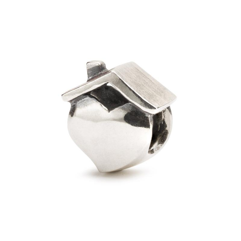 Silver charm bead called 'Home' in a heart shape with a roof over it, for a Trollbeads bracelet