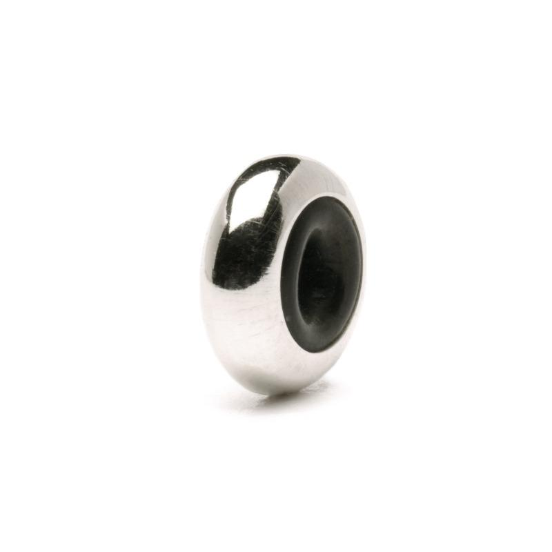 Trollbeads silver spacer bead with rubberised centre to hold the charm beads in place