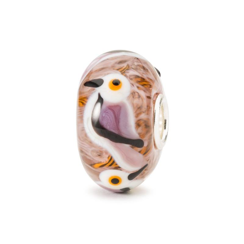 Trollbeads glass bead with parrot created into the glass for a modern charm bracelet