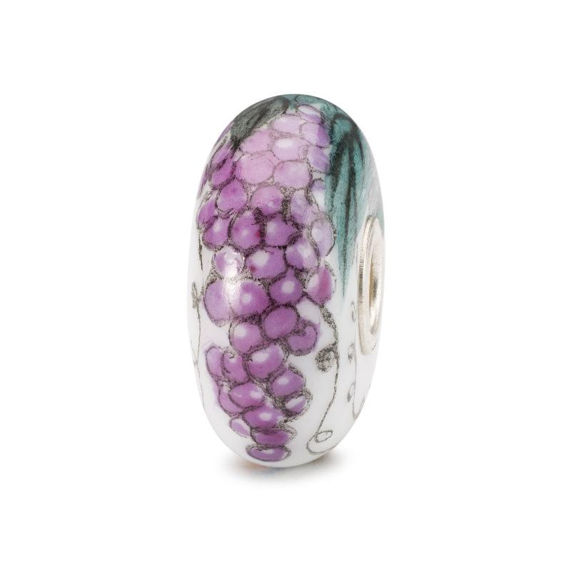 Porcelain bead with painted purple grapes
