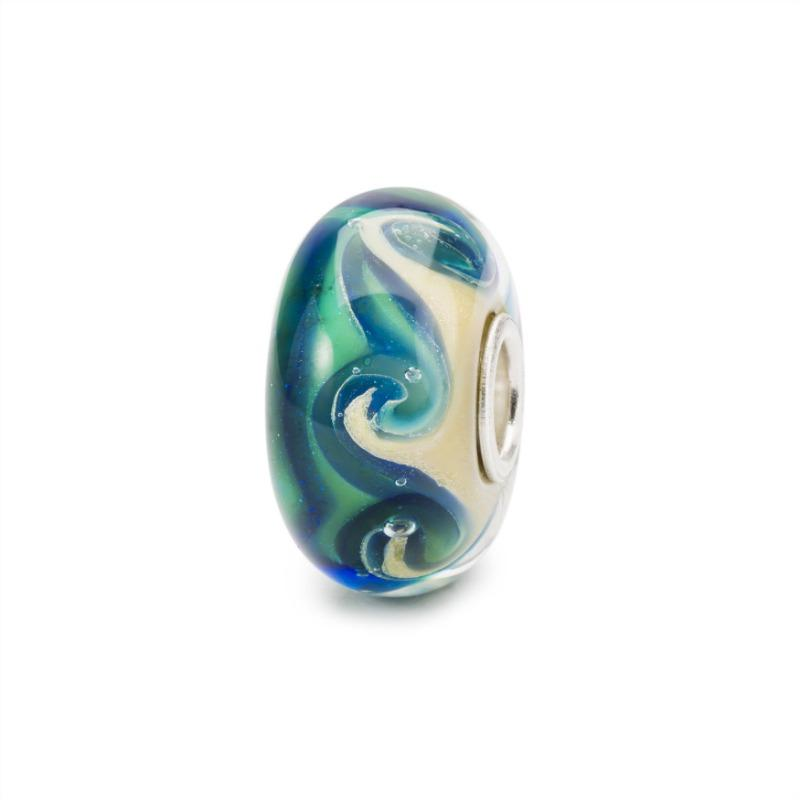 Trollbeads glass bead with white background and waves of turquoise