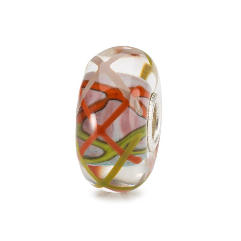 Trollbeads Italian glass bead with green and orange sticks of colour on a white background