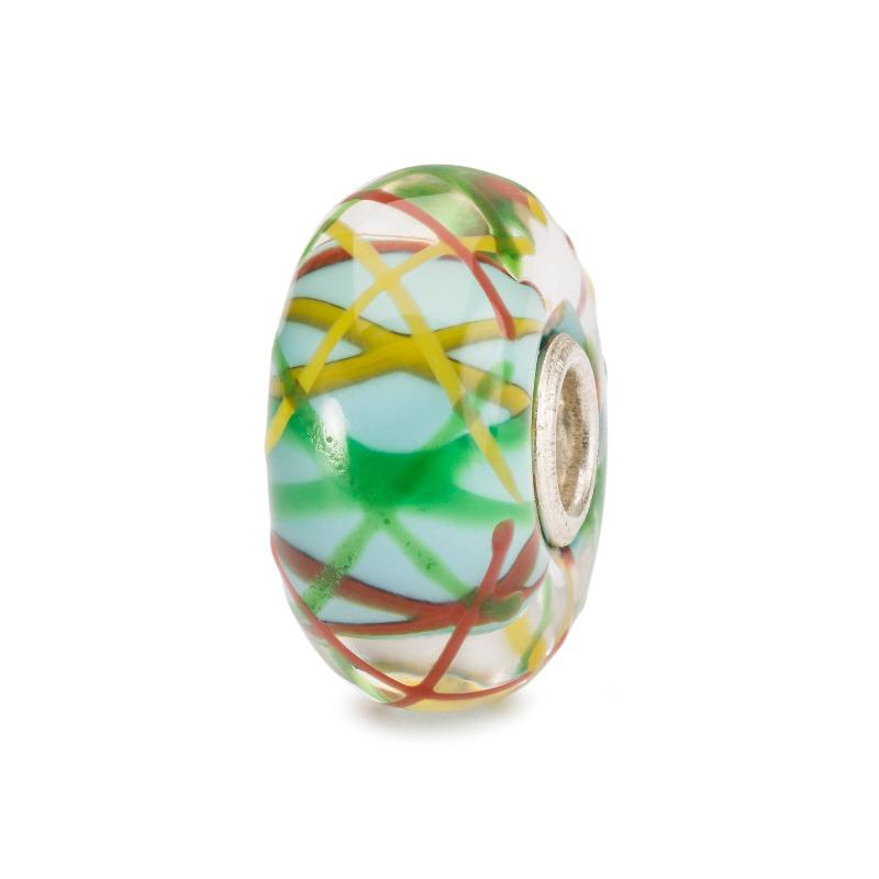 Trollbeads glass bead for modern charm  bracelet in white with stripes of orange, green and yellow