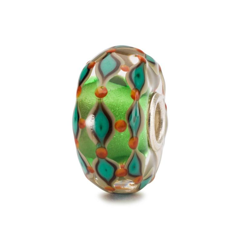 Trollbeads green and orange glass bead for a modern charm bracelet