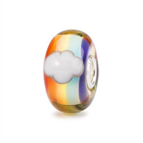 Trollbeads limited edition glass bead 'Together Apart' with a rainbow and clouds within the glass