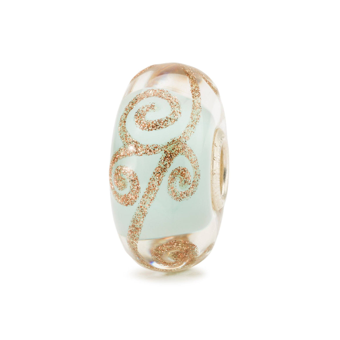 Modern day chaglass charm bead in pale blue with swirls of glittering gold for a Trollbeads bracelet