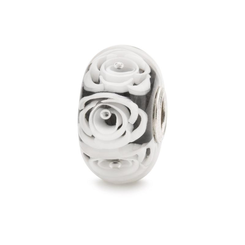 Glass charm bead in grey with white roses for modern charm bracelet, Trollbeads