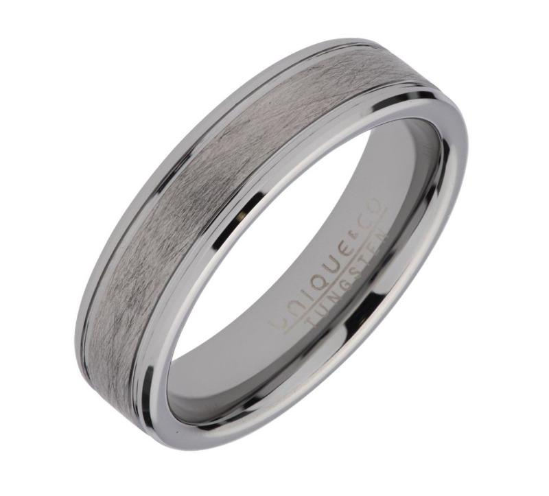 Tungsten Carbide Ring for Men with Brushed Inlay Jewellery UNIQUE O 3/4