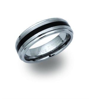 Tungsten Ring with Black Resin Inlay