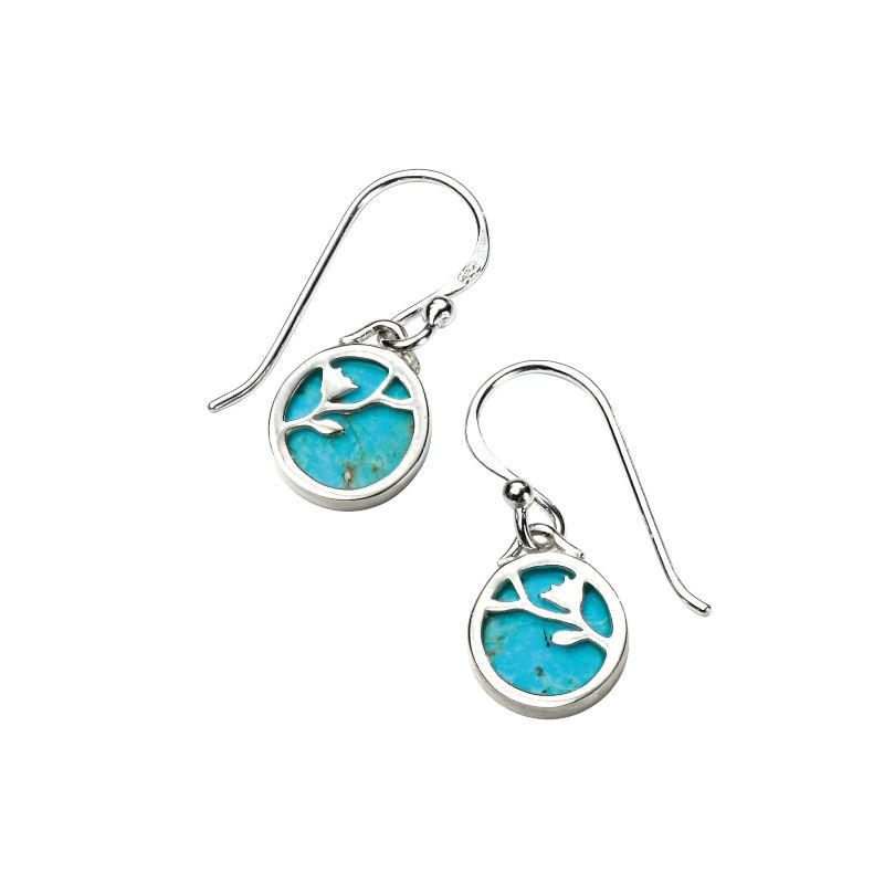 Turquoise Disc Drop Earrings with Silver Flower Pattern Overlay Jewellery Gecko