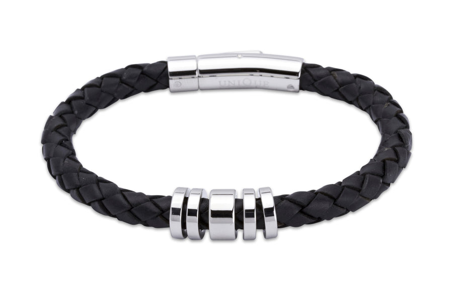 Mens-black-leather-bracelelt-with-steel-elements-from-Jools-Jewellery