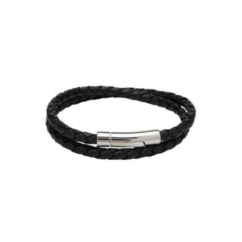 Men's black plaited leather bracelet in wrap-around style