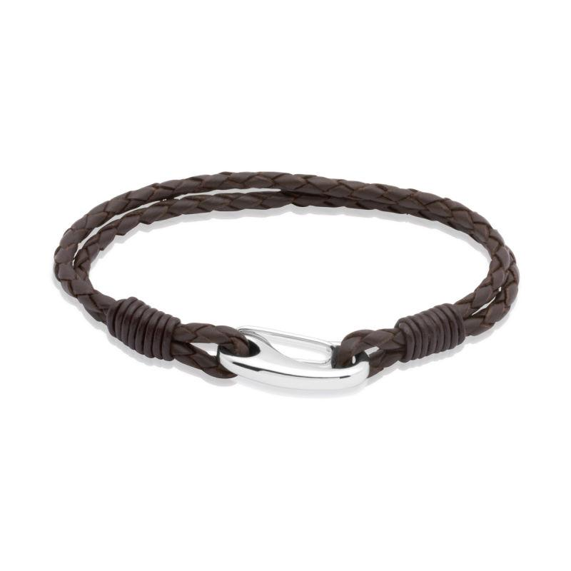 Men's dark brown double stranded plaited leather bracelet with steel shrimp clasp