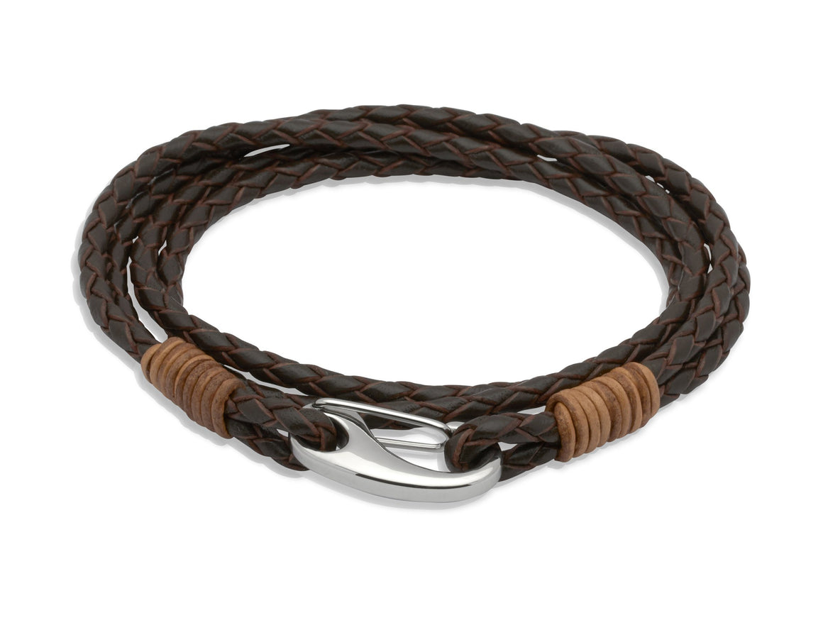 Mens-Double-Strand-Wrap-Around-Leather-Bracelet-Brown-Light-Brown-Jools