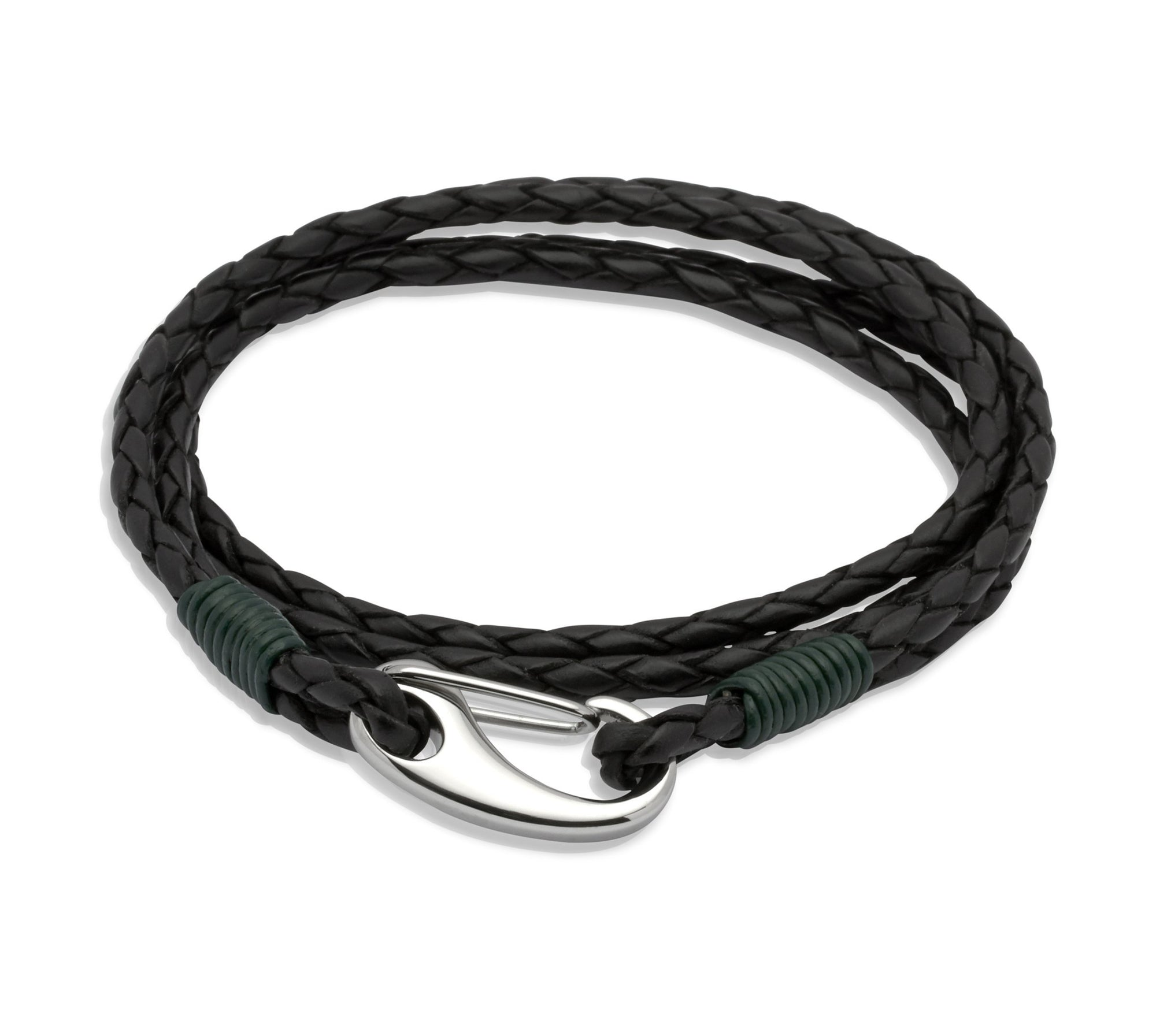 Mens Double Strand Wrap-Around Leather Bracelet in Black and Dark Green binding