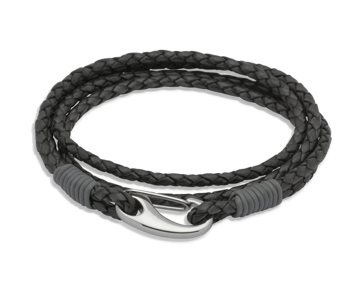 Mens-Double-Strand-Wrap-Around-Leather-Bracelet-Black-Grey-Jools