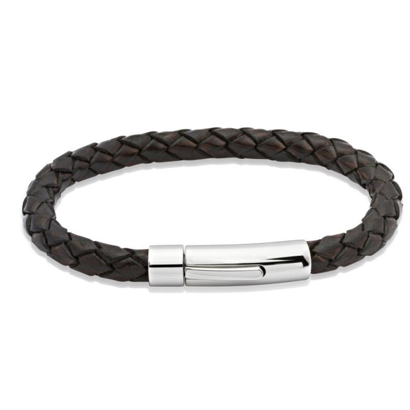 Unique Brown woven leather bracelet with steel clasp