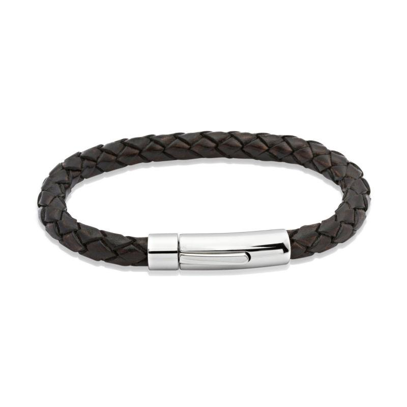 Men's dark brown leather woven bracelet