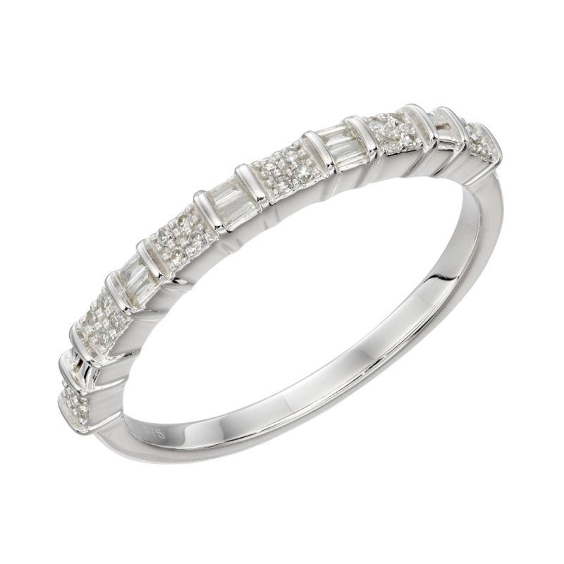 White Gold Diamond Baguette Ring Jewellery Gecko L (50)