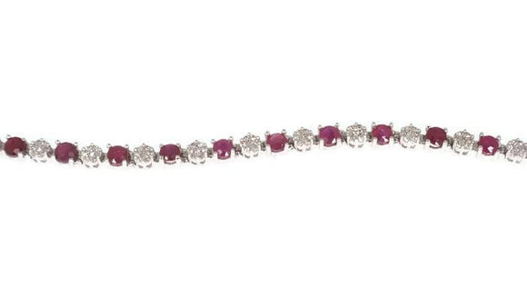 9ct White Gold Ruby and Diamond Tennis Bracelet