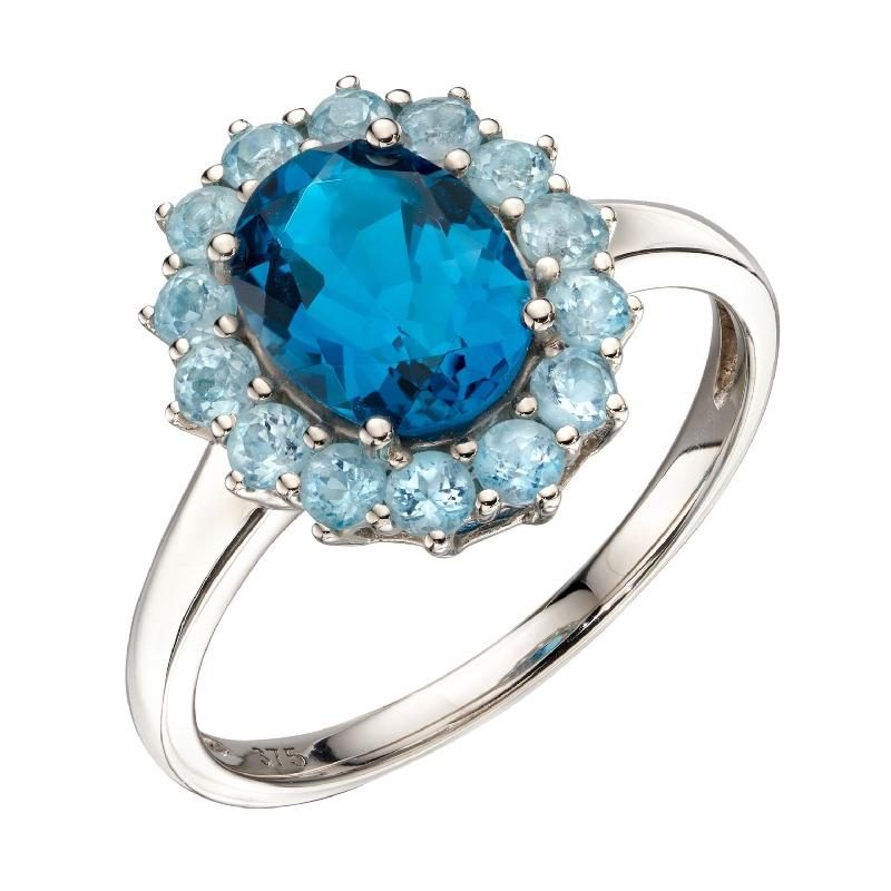 9ct white gold and blue topaz cluster ring