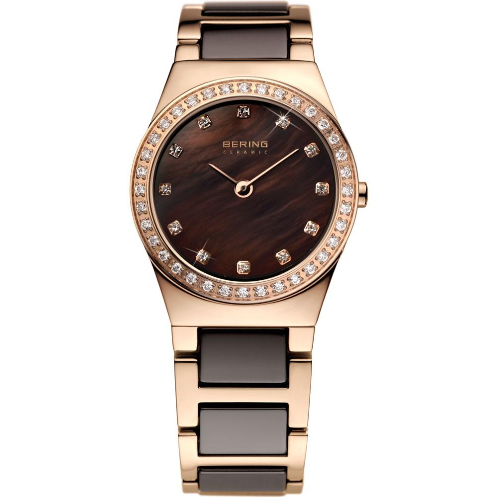 Bering-Laies-Rose-Gold-and-Brown-Ceramic-Watch-with-CZ-32426-765-Jools-Jewellery