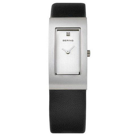 Bering Ladies Watch in Brushed Silver with leather strap 10817-400