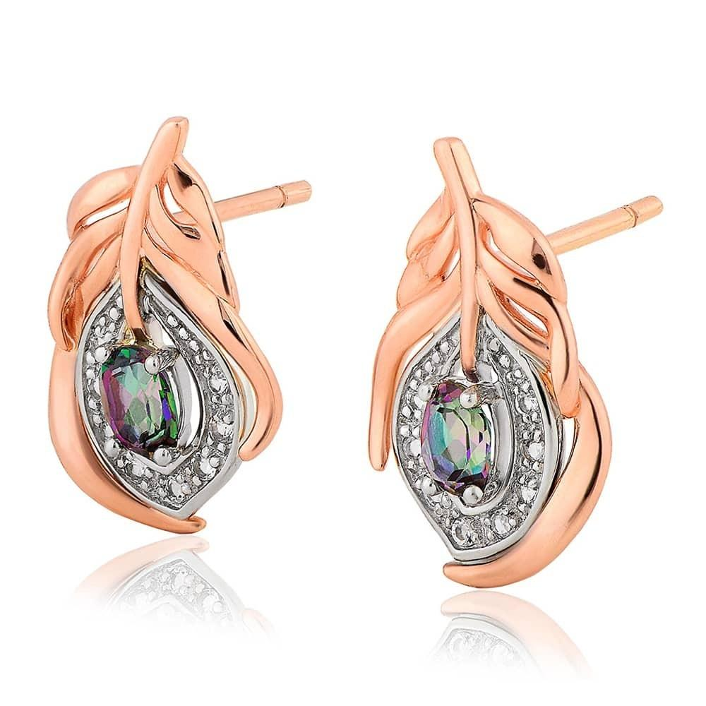 Clogau welsh gold peacock throne earrings with mystic topaz and white topaz stones set in rose gold feather studs