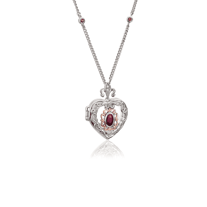 Silver and Welsh Gold Heart Locket with Ruby