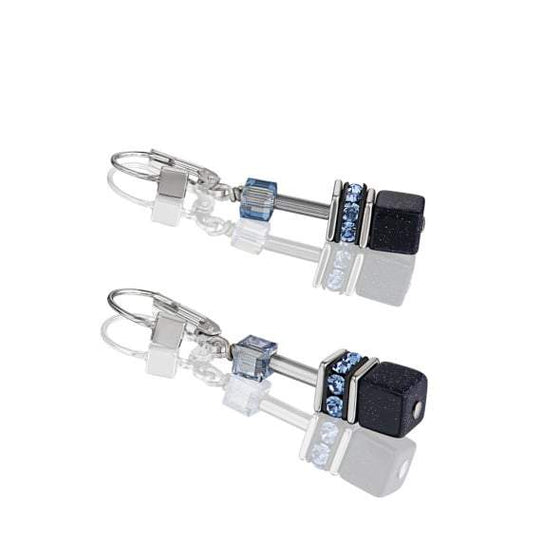 Coeur de Lion Geo Cube Earrings in Dark Blue 4015/20-0721