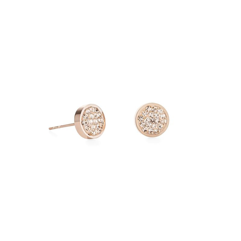 Coeur de Lion Rose Gold Stainless Steel Pave Peach Crystal Earrings Earrings Coeur de Lion