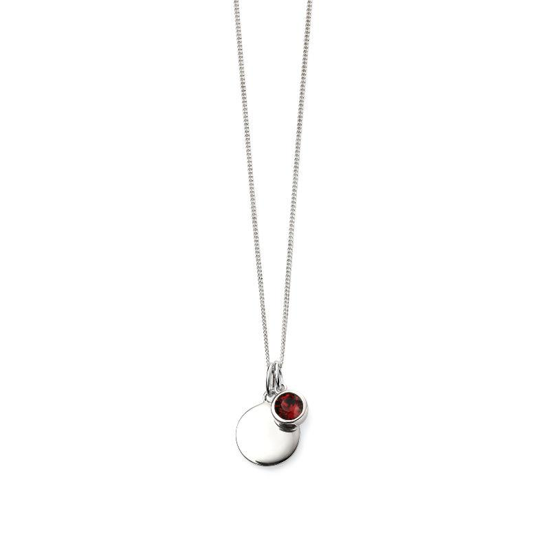 Engravable Disc Pendant with January Swarovski Charm Jewellery Gecko