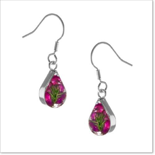 Real Flower Jewellery silver drop earrings with real Heather flowers