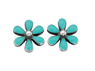 Imitation Turquoise Flower Earrings Jewellery Gecko
