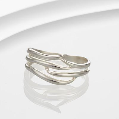 Silver Banded Ring with Flicks