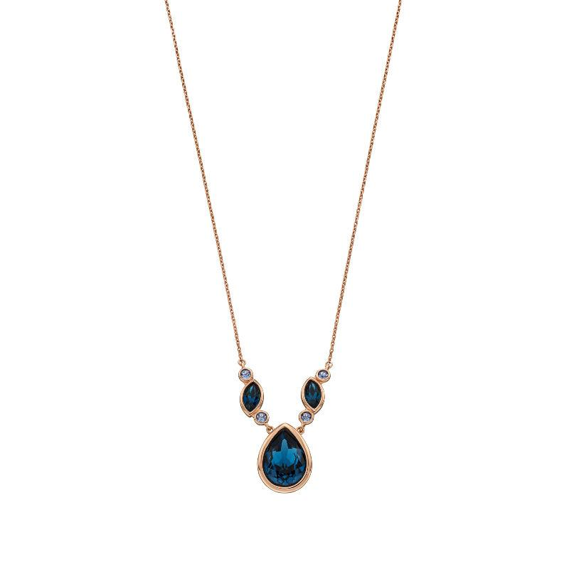 Rose Gold and Blue Swarovski Crystal Necklace