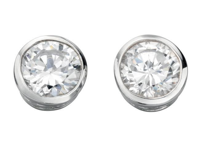 Silver Round CZ Stud Earring
