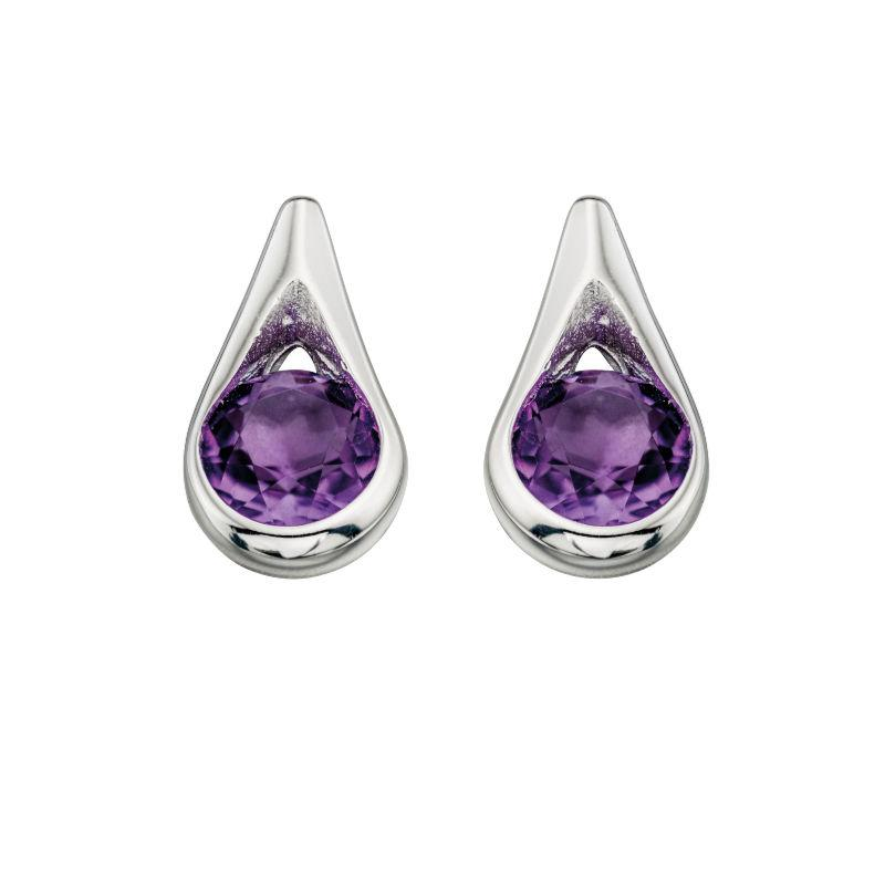 Silver Amethyst Teardrop Earrings Jewellery Gecko