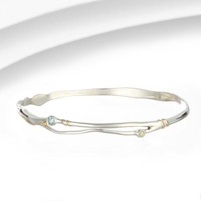 Silver Bangle Blue Topaz and Opalite