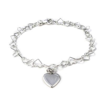 Linked Heart Bracelet with Heart Charm Jewellery Tales from the Earth