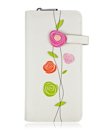 Roses Clutch Wallet -Grey