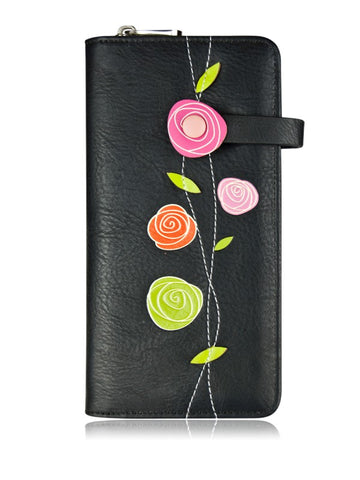 Rose Clutch Wallet Black- By Espe