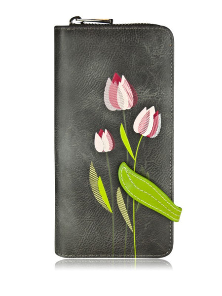 Tulip Clutch Wallet By Espe- Grey